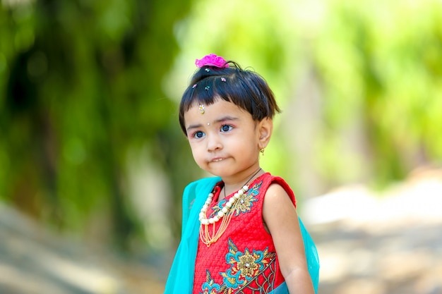 Cute indian little girl on traditional wear Premium Photo
