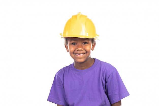 Cute kid with yellow helmet Premium Photo