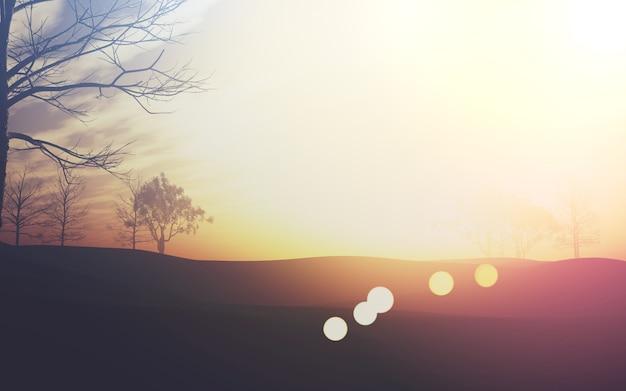 Cute Landscape With Sunbursts Photo Free Download