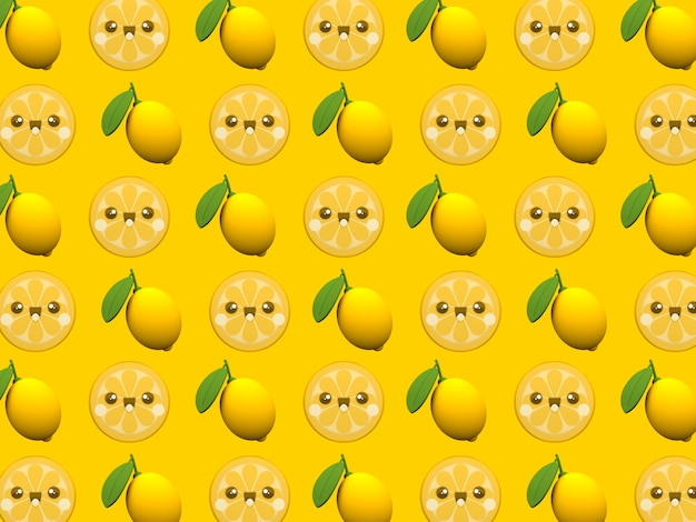 Cute Lemon Kawaii 3d Cartoon Character Pattern Wallpaper On Yellow