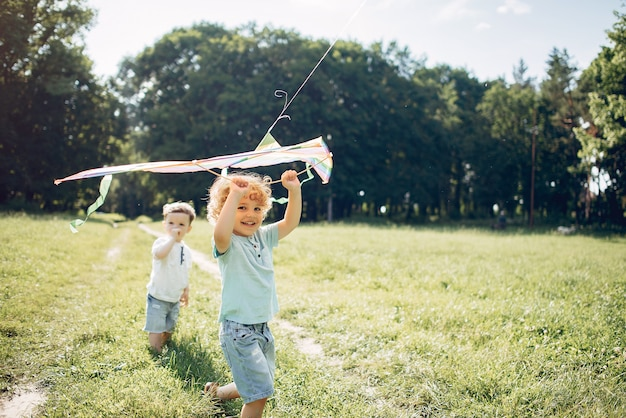 Cute little child in a summer field with a kite Free Photo