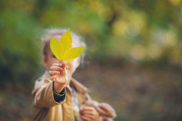 A cute little girl in a beige raincoat holding a fallen yellow leave opposite your face Premium Photo