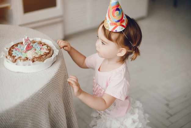 Cute little girl have fun at home Free Photo