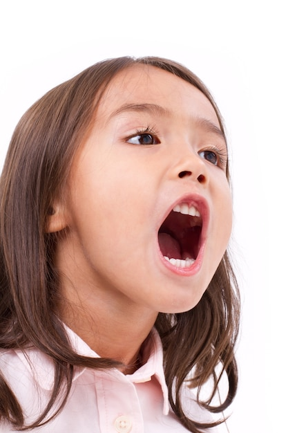 Cute little girl shouting, communication, announcing Premium Photo