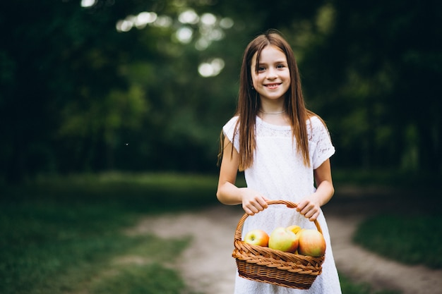 cute little girl with basket of fruit photo free download