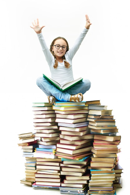 Cute Little Girl With Books Photo  Free Download-2549
