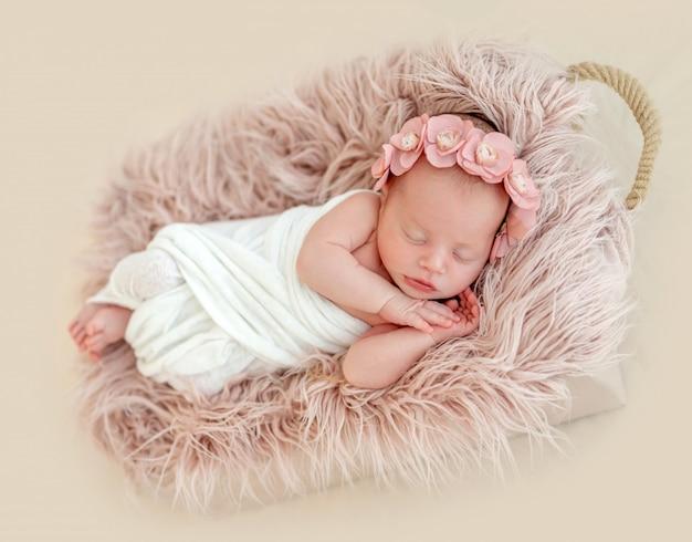 Cute Newborn Girl Sleeping In Child Basket Premium Photo