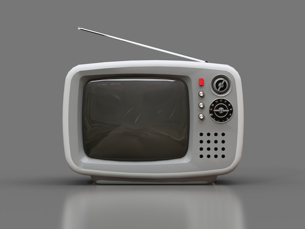 Cute old white tv with antenna on a grey background Premium Photo