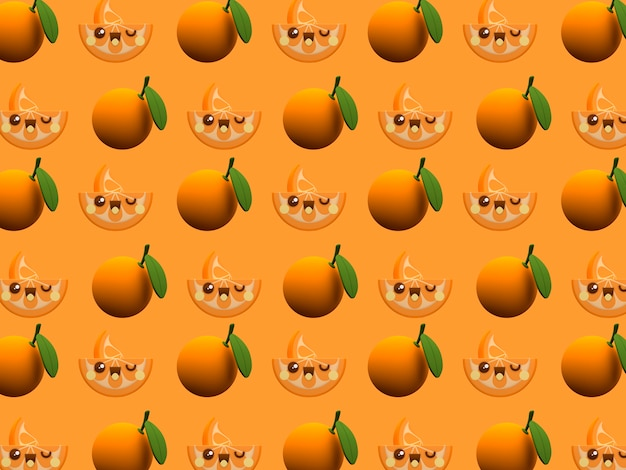 Cute Orange Kawaii 3d Cartoon Character Pattern Wallpaper On Color