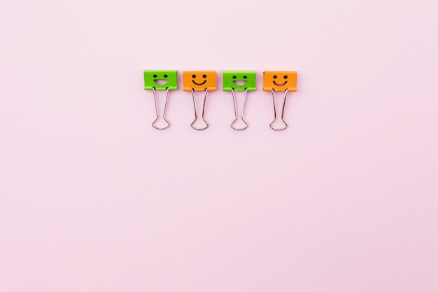 Cute paper clips with smiley faces Free Photo