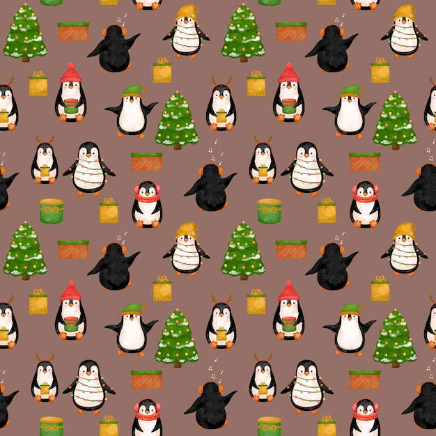 Cute penguins digital paper, christmas penguins pattern. Premium Photo