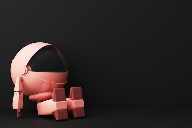 Cute pink robot sitting and look up on black 3d rendering Premium Photo
