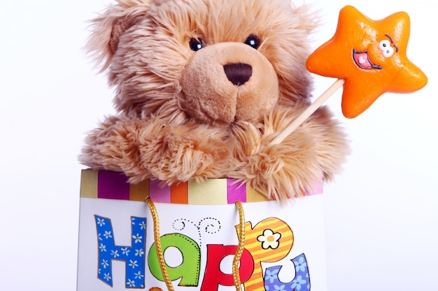 Cute teddy bear in the gift bag Free Photo
