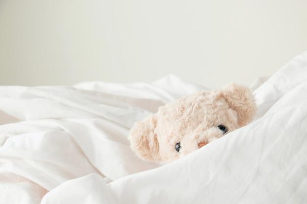 Cute teddy bear play hide and seek with fabric Premium Photo