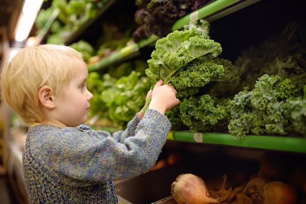 Cute toddler boy in a food store or a supermarket choosing fresh organic kale salad. Premium Photo