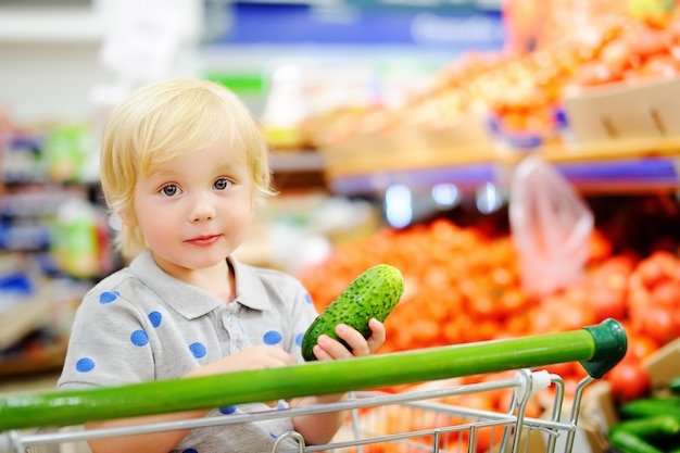 Cute toddler boy sitting in the shopping cart in a food store or a supermarket. healthy lifestyle for young family with kids Premium Photo