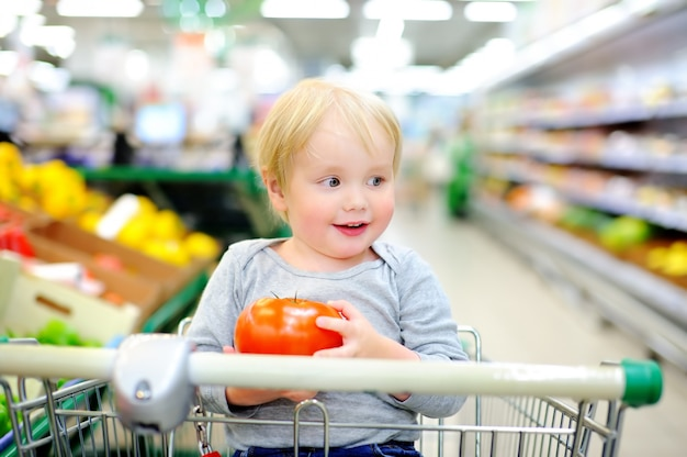 Cute toddler boy sitting in the shopping cart in a food store or a supermarket Premium Photo
