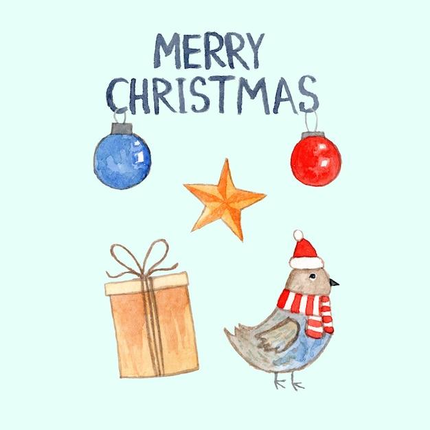 Милая акварельная рождественская открытка со снегирем санта, подарочной коробкой, шарами и звездой Premium Фотографии