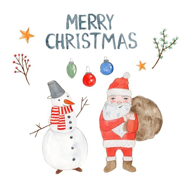 Милая акварельная рождественская открытка с дедом морозом, снеговиком, шарами и ветками Premium Фотографии