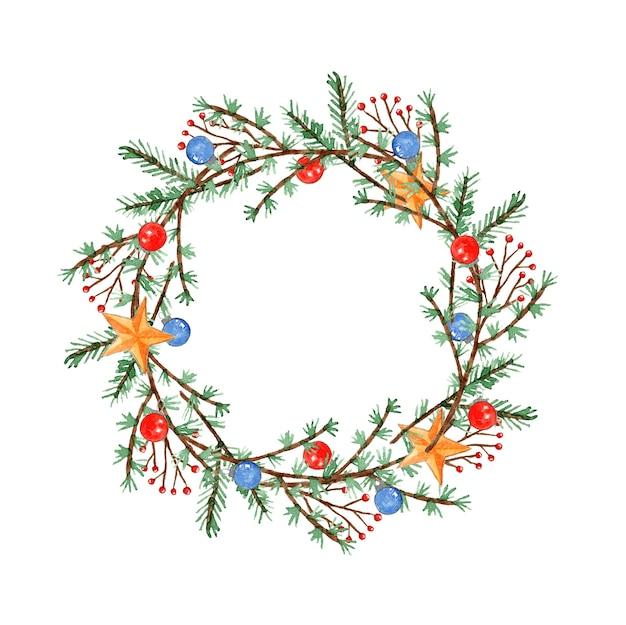 Милый акварельный рождественский венок с ветками, ветками, шарами и звездами для новогоднего украшения Premium Фотографии