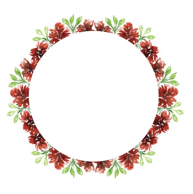Симпатичный акварельный округлый венок в теплых красных осенних тонах с цветами и листьями для поздравления и дизайна поздравительной открытки Premium Фотографии