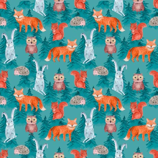 Cute watercolor seamless pattern with cheerful animals in blue coniferous forest for kids surface design Premium Photo