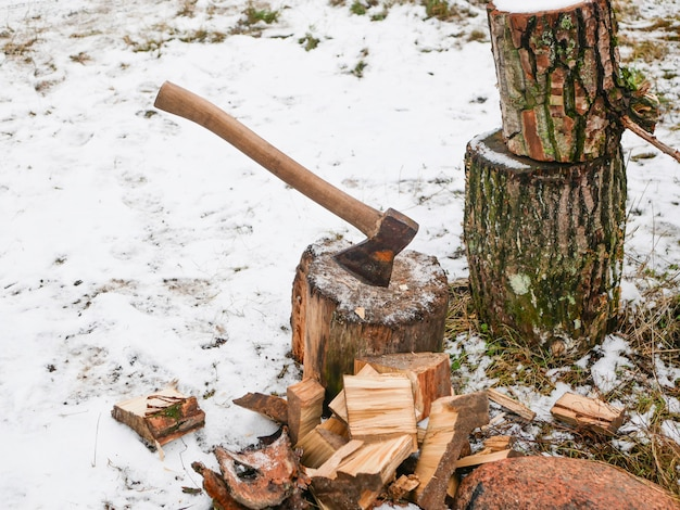 Cutting wood with an ax. hand sharpened ax, for cutting wood. harvesting firewood. Premium Photo