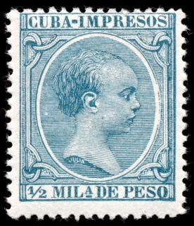 Cyan king alfonso xiii stamp  perforation Free Photo
