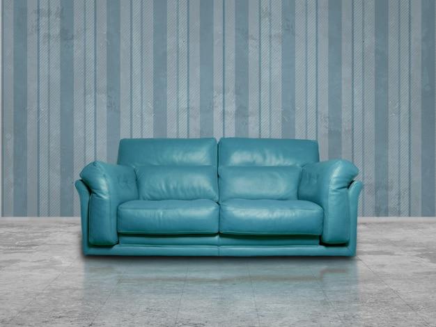 Cyan leather sofa Free Photo