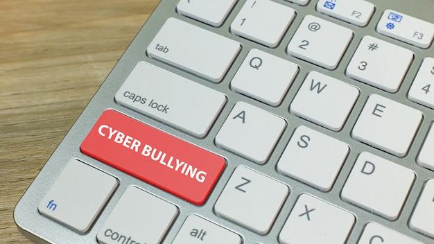 Cyber издевательства красная кнопка на серебряной клавиатуре. Premium Фотографии