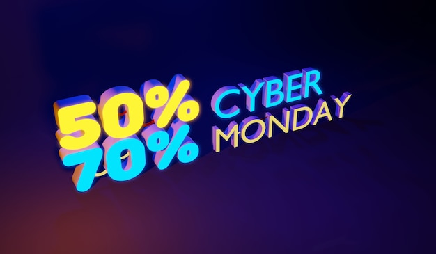 Cyber monday colorful neon style concept sign sales background, 3d render Premium Photo