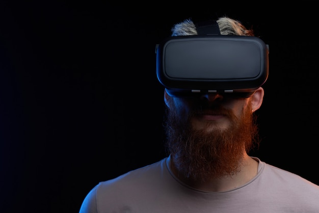 Cyber monday concept. man in vr glasses Premium Photo