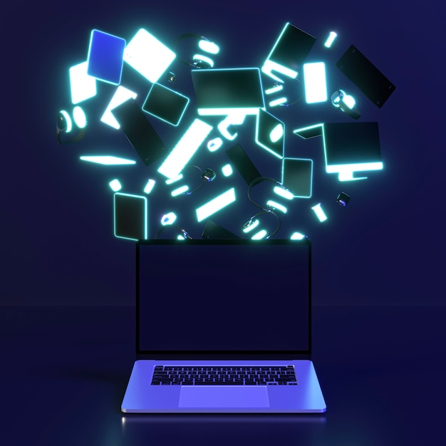 Cyber monday icon with computers Free Photo