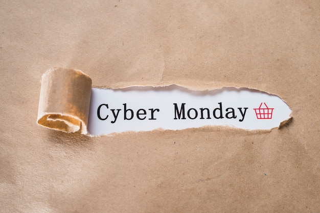 Cyber monday inscription and craft sheet Free Photo