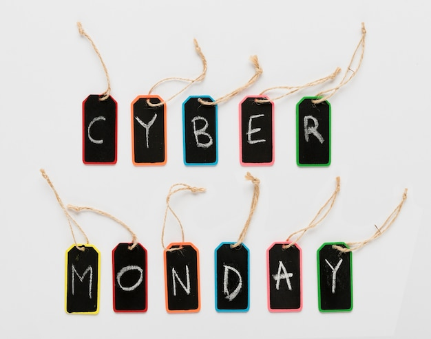 Cyber monday message on tags letters Free Photo