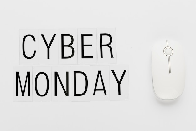 Cyber monday message with white mouse Free Photo
