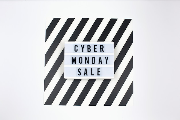Cyber monday sale text on lightbox banner Premium Photo