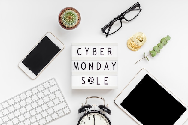 Cyber monday sale text on white lightbox Premium Photo