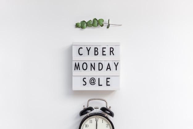 Cyber monday sale text on white lightbox Premium Photo