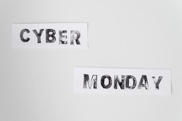 Cyber monday text on plain background Free Photo