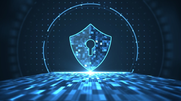Cyber security concept. shield with keyhole icon on abstract big data digital center. Premium Photo