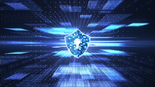 Cyber security concept. shield with keyhole icon on abstract block chain big data digital Premium Photo