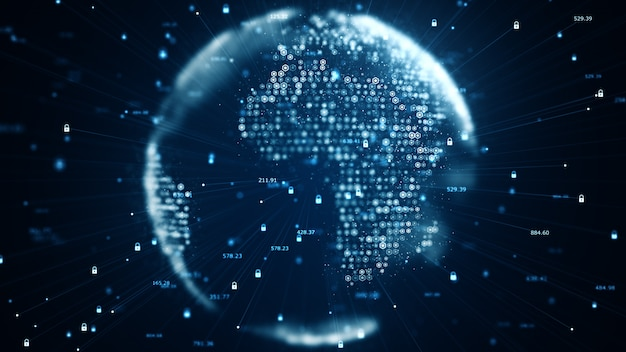 Cyber security and global communication concept. analysis of information. technology data binary code network conveying connectivity, data and information protection protocol. Premium Photo