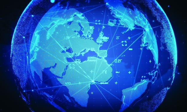 Cyber world network background.global business technology Premium Photo