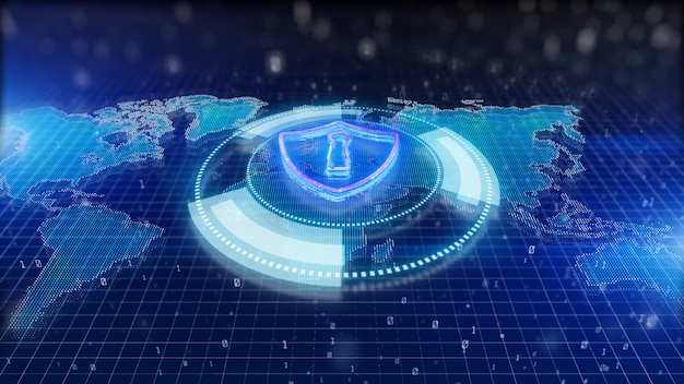 Cybersecurity shield background Premium Photo