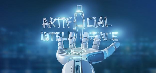 Cyborg hand holding a artificial inteligence robot made of light Premium Photo
