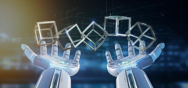 Cyborg hand holding a blockchain cube 3d rendering Premium Photo