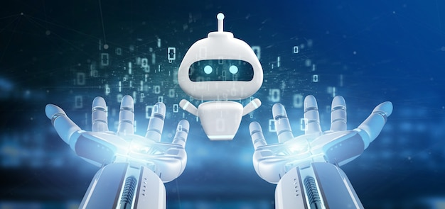 Cyborg hand holding chatbot with binary code 3d rendering Premium Photo