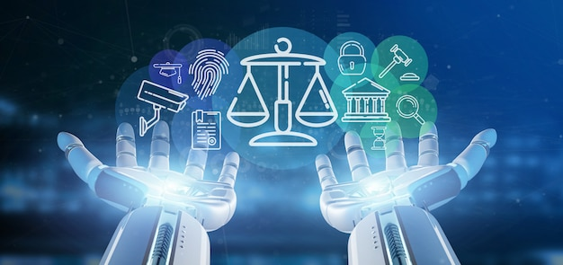 Cyborg hand holding cloud of justice and law icon bubble with data 3d rendering Premium Photo