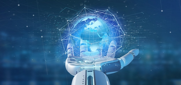 Cyborg hand holding a connected network over a earth globe Premium Photo